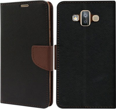 Top Grade Flip Cover for Samsung Galaxy J7 Duo Brown, Shock Proof