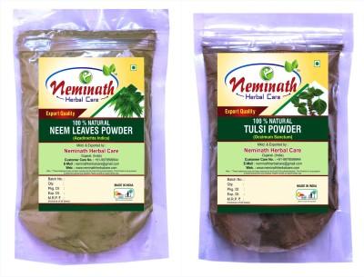 Neminath Herbal Care Neem Leaves (Azadirachta Indica) Tulsi Leaves (Ocimum Sanctum) Powder For Pimple Free Clear Skin Naturally (Pack Of 2) (200 Grams)(200 g) Flipkart