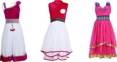 Crazeis Girls Midi/Knee Length Party Dress(Multicolor, Sleeveless)