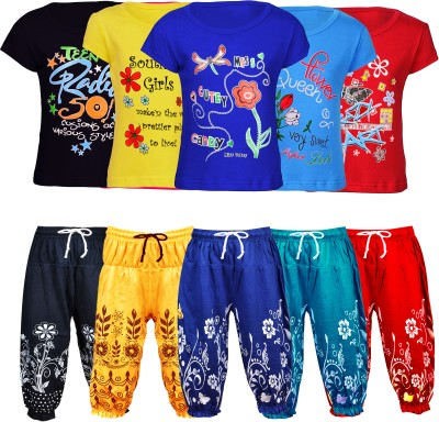 Fashionate World Kids Nightwear Girls Printed Cotton Blend(Black Pack of 5)