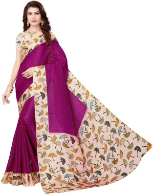 Vimalnath Synthetics Printed Kalamkari Khadi Saree(Multicolor)