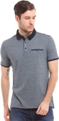 True Blue Striped Men Polo Neck Blue T-Shirt