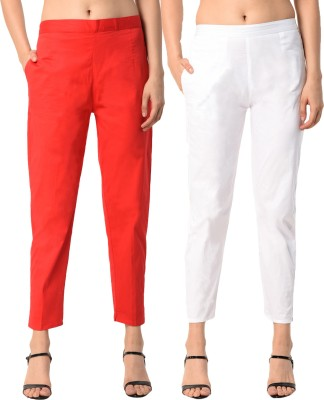 PAMO Regular Fit Women Red, White Trousers PAMO Women's Trousers