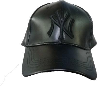 Freshook Solid NY Snapback Baseball Black Embroidered Leather Cap