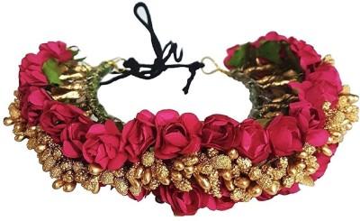 AASA Artificial Veni Hair Stone Gajra, South Indian Flowers Bridal Hair Hajra Accessories, Pink Golden Hair Accessory Set(Pink)