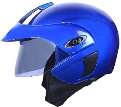 AutoVHPR presents O2 Open Face ISI Certified Blue Helmet with Peak Motorbike Helmet(Blue)
