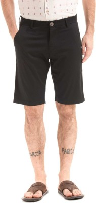 True Blue Self Design Men Black Regular Shorts