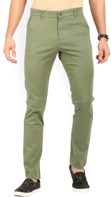 Highlander Slim Fit Men Green Trousers