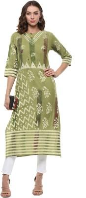 Palakh Women's Embroidered Straight Kurta(Light Green)