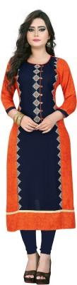 Leela Fashion Casual Self Design, Solid, Graphic Women Kurti(Orange)