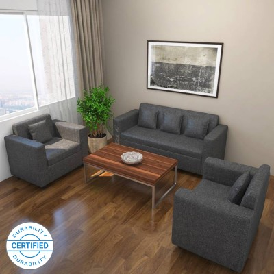 Bharat Lifestyle Lexus Fabric 3 + 1 + 1 Dark Grey Sofa Set