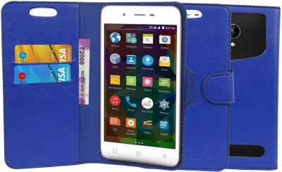 CHAMBU Flip Cover for Domo nTice Quad 1(Blue, Dual Protection, Artificial Leather)