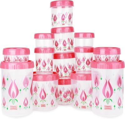 Polyset Twisty  - 1475 ml, 225 ml, 1050 ml, 295 ml, 175 ml, 540 ml Plastic Food Storage(Pack of 14, Pink)