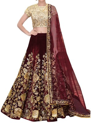 Aryan Fashion Store Velvet Embroidered Semi-stitched Salwar Suit Dupatta Material