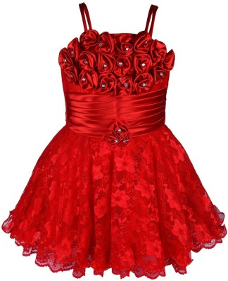 Aarika Girls Midi/Knee Length Party Dress(Red, Sleeveless) at flipkart
