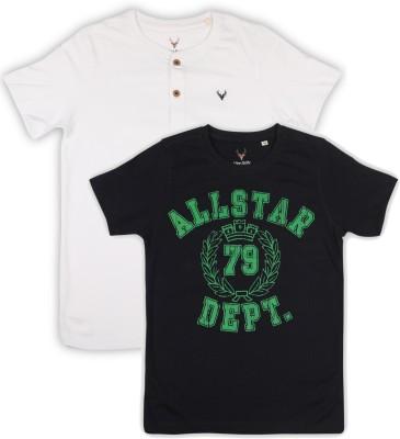 Allen Solly Junior Boys Printed Cotton T Shirt(Dark Blue, Pack of 1)