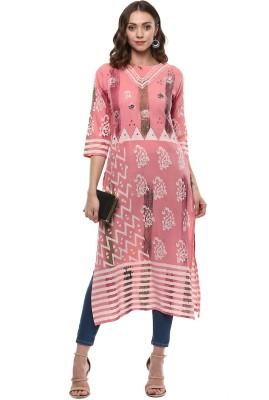 Palakh Women's Block Print, Embroidered Straight Kurta(Pink)
