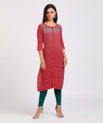 People Women Striped Straight Kurta(Orange)