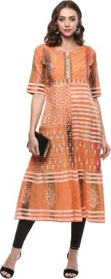 Palakh Women's Block Print, Embroidered Straight Kurta(Orange)