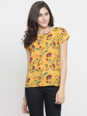 TANDUL Casual Short Sleeve Floral Print Women Multicolor Top