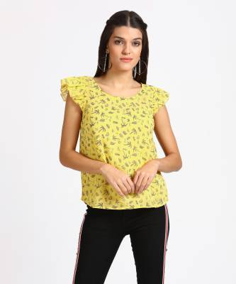 People Casual Cape Sleeve Printed Women's Yellow Top