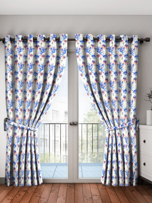 Bombay Dyeing 274 cm (9 ft) Polyester Long Door Curtain (Pack Of 2)(Floral, Blue) at flipkart