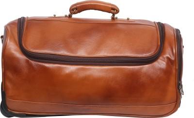 OBANI  Expandable  Genuine Leather Duffel Trolley Bag Duffel With Wheels  Strolley  Gold OBANI Duffel Bags