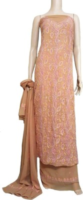 nazya creations Georgette Embroidered Salwar Suit Material(Un-stitched)