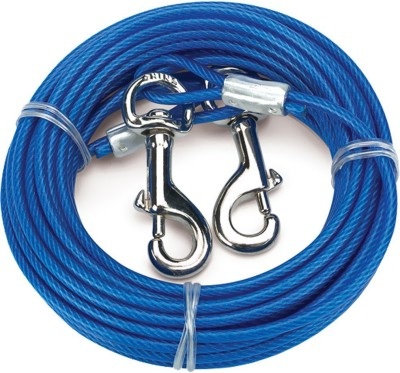Goofy Tails 15ft Vinyl Coated Aircraft Steel Cable 1 cm Dog Strap Leash(Blue)