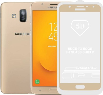 Express Buy Edge To Edge Tempered Glass for Samsung Galaxy J7 Duo (5D Full Glue tempered Glass) Gold(Pack of 1)