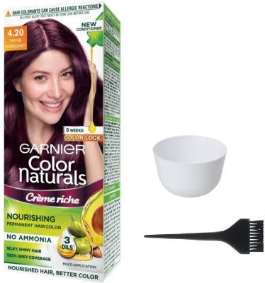 Garnier Color Naturals Hair Color (Wine Burgundy No. 4.20) + 1 Mixing Bowl + 1 Dyeing Brush(Set of 3)