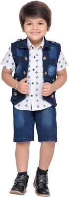 AJ Dezines Boys Casual Shirt Jacket, Shorts(Blue) at flipkart