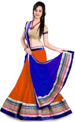 Apnisha Embellished Semi Stitched Lehenga Choli(Blue, Orange)