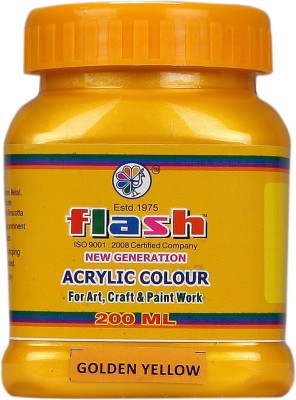Flash Acrylic Metallic Colour -Golden Yellow 200ML(Set of 1, Golden Yellow)