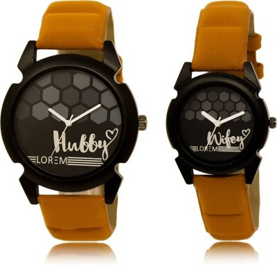 LOREM FZ 32_235 Couple Watches With Hubby & Wifey Printed Dial Analog Watch  - For Couple