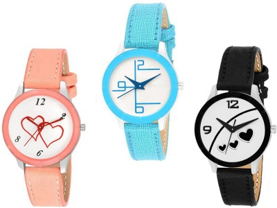 Skmi Multi~Colour Leather Strap PartyWear+Casual+Formal Combo Of 3 Women Watch  - For Girls