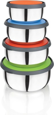 Flipkart SmartBuy Lid Bowl  - 1400 ml, 1000 ml, 700 ml, 400 ml Steel Grocery Container, Fridge Container(Pack of 4, Steel)