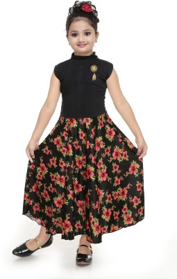 nukids Girls Maxi/Full Length Party Dress(Red, Sleeveless)