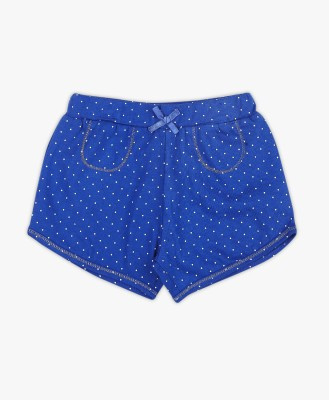 PINK & BLUE by fbb Short For Girls Casual Polka Print Cotton Blend(Blue, Pack of 1)