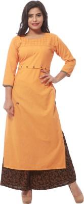 FLARY Women Solid Straight Kurta(Orange)