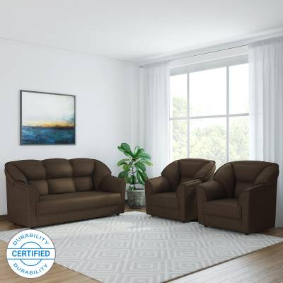 Surprising Westido Leyland Fabric 3 1 1 Dark Brown Sofa Set Inzonedesignstudio Interior Chair Design Inzonedesignstudiocom