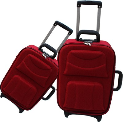 MOFKOF STYLISH MAROON WITH DOUBLE DESIGN Expandable Check in Luggage   24 inch MOFKOF Suitcases