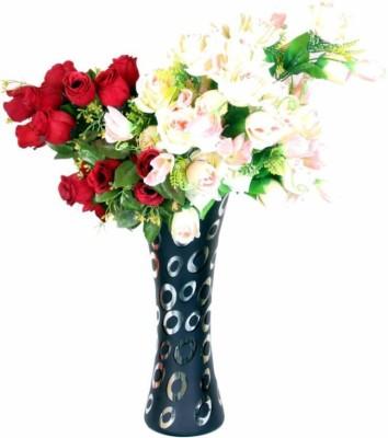Afast Designer Hand Decorative Glass Table Top Flower Pot Vase In New Shape Art -H21 Glass Vase(8 inch, Multicolor)