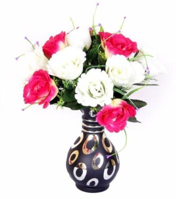 Afast Designer Hand Decorative Glass Table Top Flower Pot Vase In New Shape Art -H31 Glass Vase(8 inch, Blue, Gold)