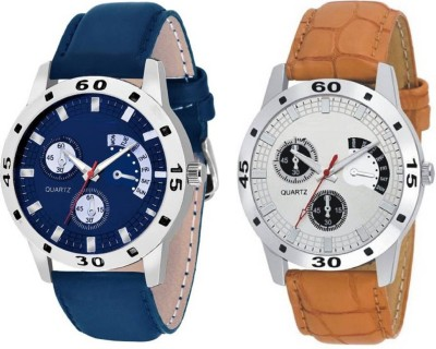 True Colors Stylish Cronograph Pattern Brown & Blue Leather Strap Watch  - For Men