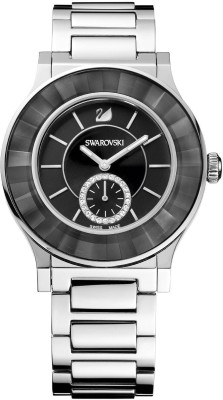 Swarovski 1181764 Faceted Crystal Silver Night Dial Watch  - For Women