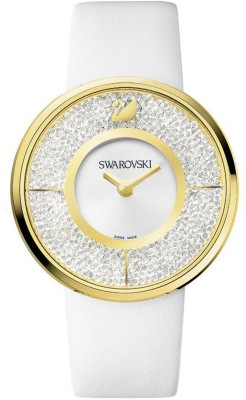 Swarovski 1184025 Crystalline Gold Dial Calfskin Leather Strap Watch  - For Women