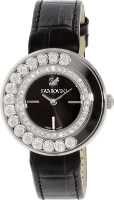 Swarovski 1160306 Lovely Crystals Black Dial Calfskin Leather Strap Watch  - For Women
