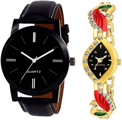 swanos New Collection watch Full Black & Peacock Desing watch Color Black & Gold_Red_For _Couple watches Watch  - For Men & Women