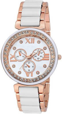 Dark Horse Group Stylish Diamond Studded Dial White Chronograph Top Selling Luxurious Design-d063 For Girls Designer Collection Watch  - For Women